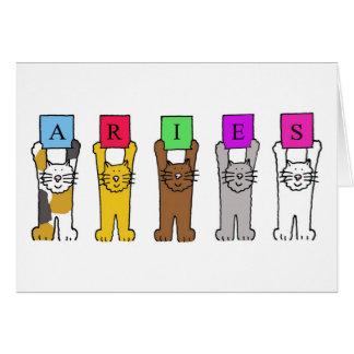 Aries cartoon cats for birthdays . greeting card