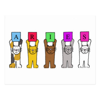 Aries cartoon cats for birthdays . postcard