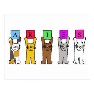 Aries cartoon cats for birthdays . postcards