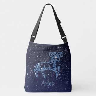 Aries Constellation and Zodiac Sign with Stars Crossbody Bag