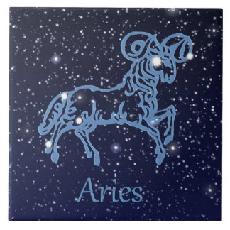 Aries Constellation and Zodiac Sign with Stars Large Square Tile