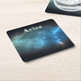 Aries constellation square paper coaster