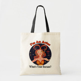 Aries Excuse Zodiac Chick Budget Tote Bag