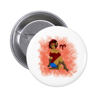 Aries Girl 6 Cm Round Badge