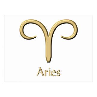 Aries Gold Symbol postcards