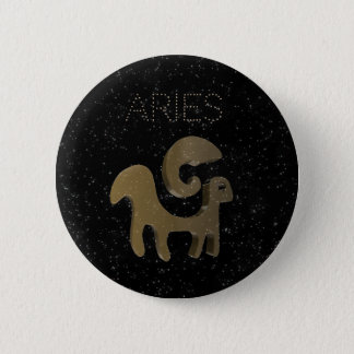 Aries golden sign 6 cm round badge