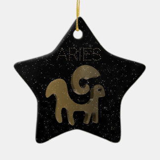 Aries golden sign christmas ornament