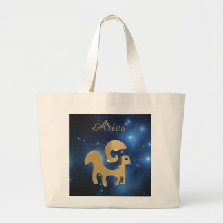 Aries golden sign large tote bag