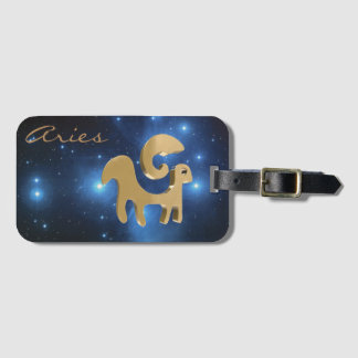 Aries golden sign luggage tag