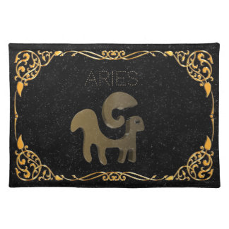 Aries golden sign placemat