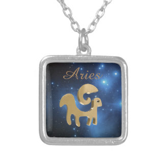 Aries golden sign silver plated necklace