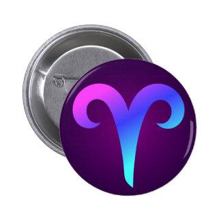Aries Horoscope Sign Pink Blue Aqua Purple 6 Cm Round Badge