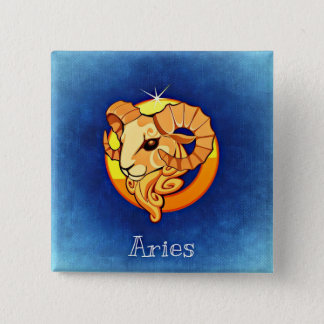 Aries, Horoscope Sign Ram Zodiac Symbol Button