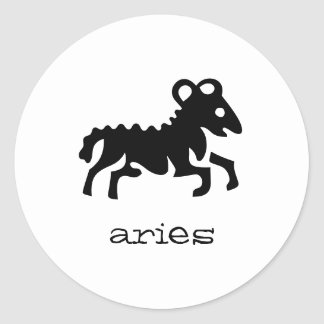 Aries in black classic round sticker
