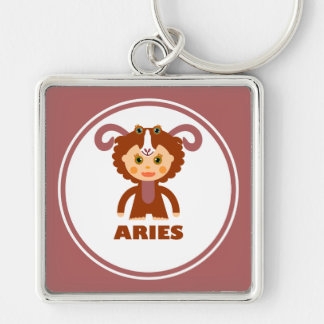Aries is my Zodiac Sign Silver-Colored Square Key Ring