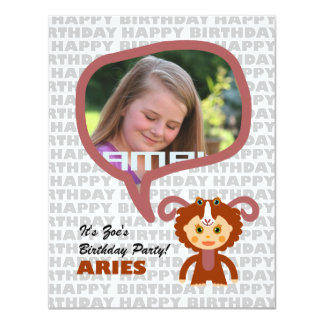 Aries Kids Party Invitation with photo