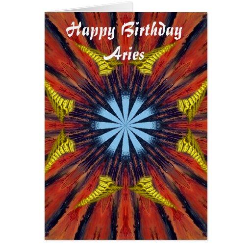 Aries Mandala Birthday Birthday Card