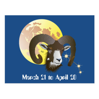 Aries March 21 tons of April 20 postcard