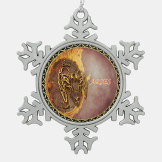 Aries March 21st until April 20th Horoscope Snowflake Pewter Christmas Ornament