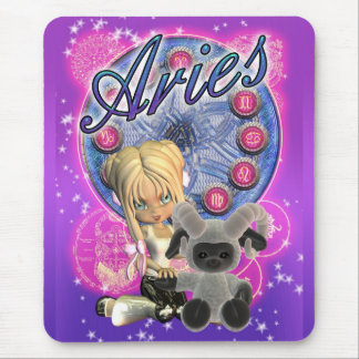 Aries Mousepad With Cute Female And Ram