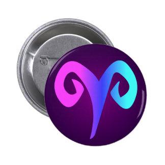 Aries Organic Style Sign Pink Blue Aqua Purple 6 Cm Round Badge