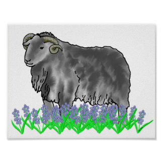 Aries Ram And Bluebells Art Poster