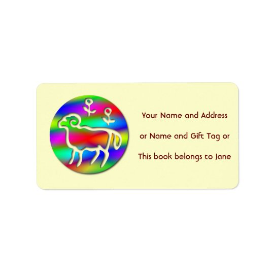 Aries Ram Star Sign Rainbow Name Tag Gift