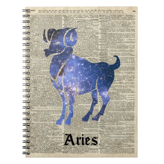 ARIES Ram Zodiac Sign Over Dictionary Page Notebooks