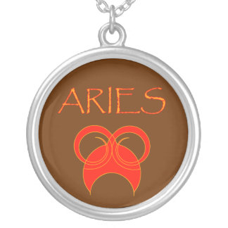 Aries red hot round pendant necklace