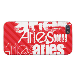 Aries; Scarlet Red Stripes Case For iPhone 5/5S