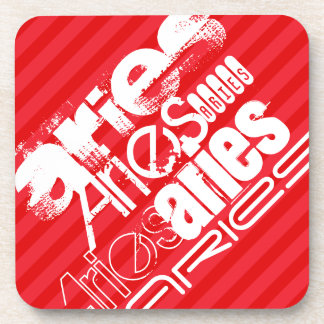 Aries; Scarlet Red Stripes Coaster