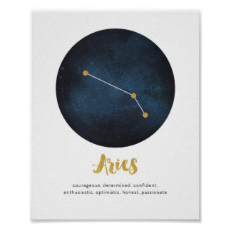 Aries star sign print