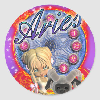 Aries Sticker With Cute Female And Ram