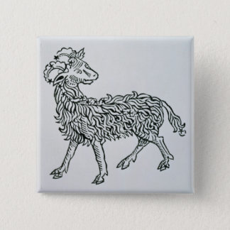 Aries (the Ram) an illustration from the 'Poeticon 15 Cm Square Badge