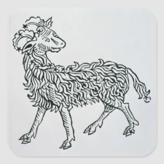 Aries (the Ram) an illustration from the 'Poeticon Square Sticker
