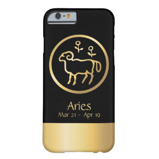 Aries the Ram Zodiac Black Gold Barely There iPhone 6 Case