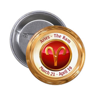Aries - The Ram Zodiac Sign 6 Cm Round Badge