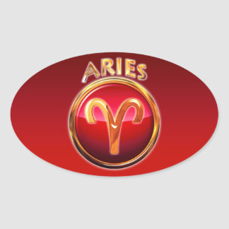 Aries - The Ram Zodiac Sign Oval Sticker