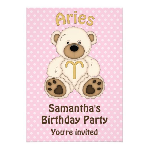 Aries White Bear on Pink Birthday Party Invitation