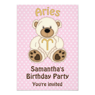 """Aries White Bear on Pink Birthday Party 5"""" X 7"""" Invitation Card"""