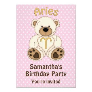 Aries White Bear on Pink Birthday Party 13 Cm X 18 Cm Invitation Card