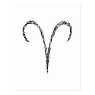 Aries. Zodiac Astrology Sign. Black. Postcard