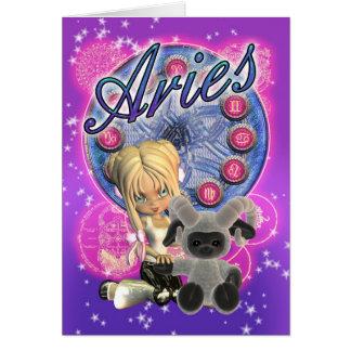 Aries Zodiac Cute Card With Female And Ram