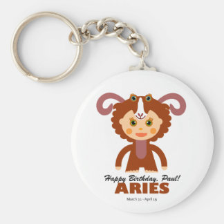 Aries Zodiac for Kids Basic Round Button Key Ring