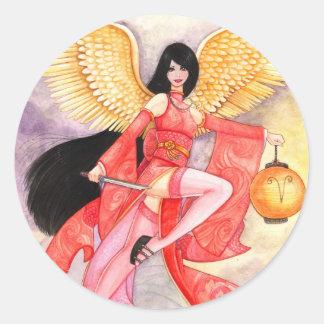 Aries Zodiac Geisha Sticker- Customize it! Round Sticker