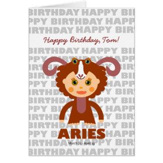 Aries Zodiac Sign Birthday Card
