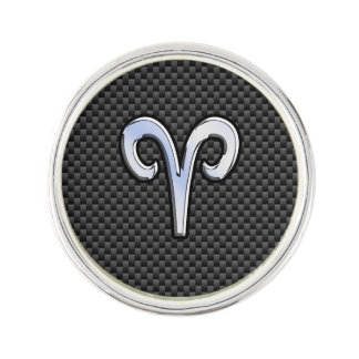 Aries Zodiac Sign on Carbon Fiber Style Lapel Pin