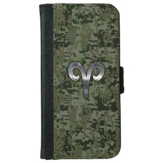 Aries Zodiac Sign on Green Digital Camo iPhone 6 Wallet Case