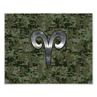 Aries Zodiac Sign on Green Digital Camo Art Photo