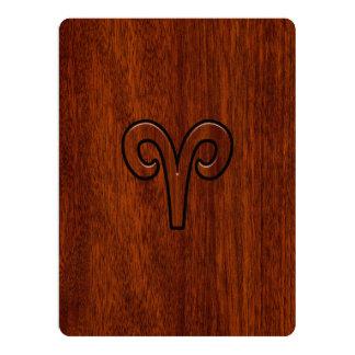Aries Zodiac Sign on Mahogany like print 17 Cm X 22 Cm Invitation Card